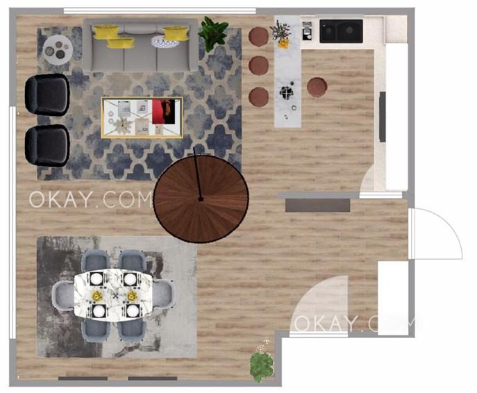 Floor plan for living room with open plan kitchen design